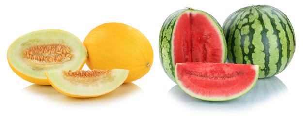 Melonen Honigmelone Wassermelonen geschnitten Früchte Frucht Obst Sommer Freisteller freigestellt isoliert