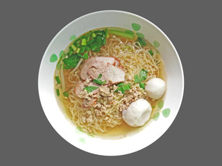 Egg Noodle Soup with Red Roast Pork and Fish Balls