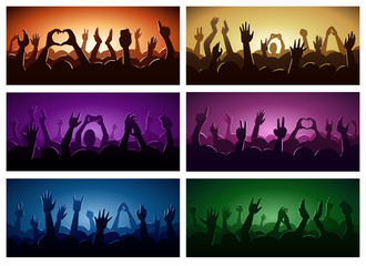 Party human hands silhouette music festival or concert streaming down from above stage fan zone vector illustration