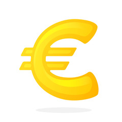 Vector illustration in flat style. Golden sign of European euro. The symbol of world currencies. Decoration for menus, signboards, showcases, posters, wallpapers and interfaces