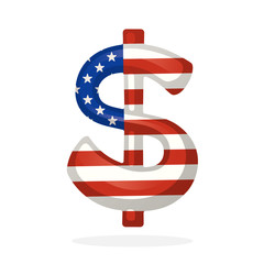 Vector illustration. Sign of American dollar in national flag colors with one vertical line. Symbol of world currencies. Decoration for menus, signboards, showcases, posters, wallpapers and interfaces