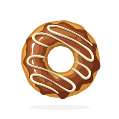 Vector illustration in cartoon style. Donut with chocolate glaze and caramel. Decoration for menus, signboards, showcases, prints for clothes, posters, wallpapers