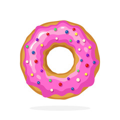 Vector illustration in cartoon style. Donut with pink glaze and colored sugar dragees. Decoration for menus, signboards, showcases, prints for clothes, posters, wallpapers