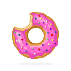 Vector illustration in cartoon style. Bitten donut with pink glaze and colored sugar dragees. Decoration for menus, signboards, showcases, prints for clothes, posters, wallpapers