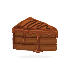 Vector illustration in cartoon style. А piece of cake with chocolate glaze cream and fondant. Decoration for menus, signboards, showcases, prints for clothes, posters, wallpapers