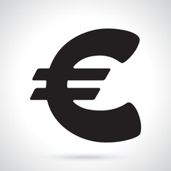 Vector illustration. Silhouette of euro sign. The symbol of world currencies. Decoration for menus, signboards, showcases, posters, wallpapers and interfaces