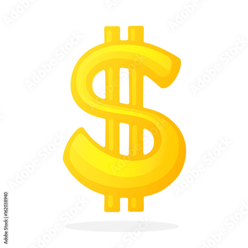 Vector Illustration In Flat Style Golden Sign Of American Dollar