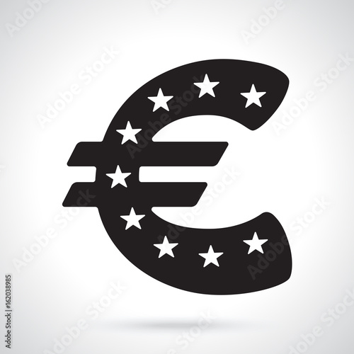 Vector Illustration Silhouette Of Euro Sign With Stars The Symbol