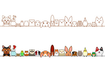 cute pet animals border set