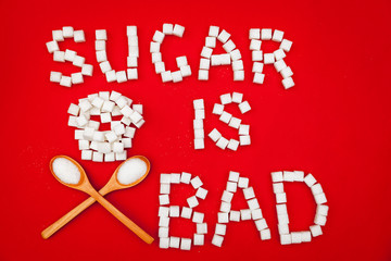 Sugar is bad sign from sugar cubes
