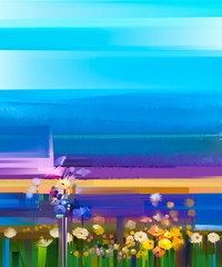 Abstract colorful oil painting landscape on canvas. Semi- abstract image of yellow and red  flowers in meadow or field with blue sky. Spring, Summer season nature background - 162042744