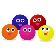 Colorful baby Balls with smiley face vector on white background