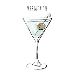 Illustration of an alcoholic drink. Vermouth