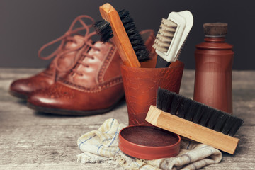 Polish cream and brushes for shoes