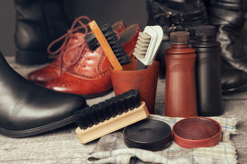Brushes and polish cream for shoes