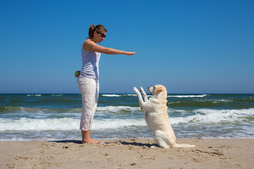 Woman training a dog on the beach
