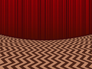 Red room. Horisontal background with red velvet curtains and zigzag floor in retro movie style Vector scenery