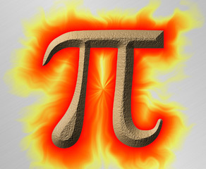 Flaming Pi - Pi Symbol with flames on steel background