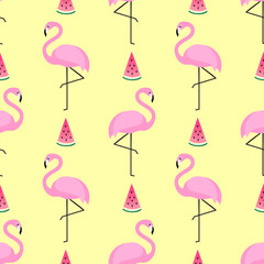 Tropical trendy seamless pattern with pink flamingos and watermelon on yellow background. Exotic Hawaii art background. Design for fabric, wallpaper, textile and decor.