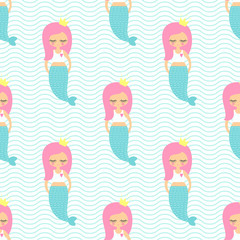 Pink hair mermaid girl seamless pattern on mint green waves background. Vector sea background for kids. Cute baby shower design for fabric, textile, decor, wallpaper.