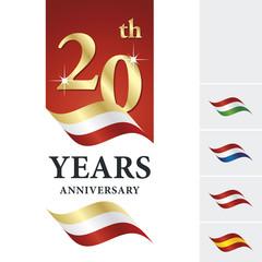 Anniversary 20 th years celebrating logo gold white red ribbon