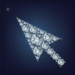 Arrow cursor shape made up a lot of diamonds