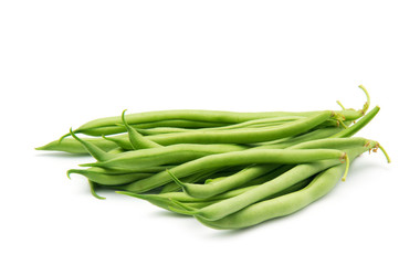 Few green french beans isolated on the white background
