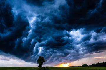 Storm clouds over the field in Saxony, Germany