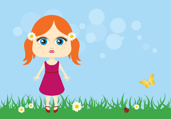 Cute little girl vector. Cartoon character of a little girl. Adorable little girl in the meadow