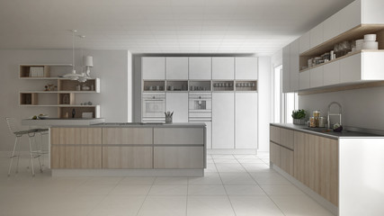 Unfinished project of modern scandinavian kitchen, sketch abstract interior design