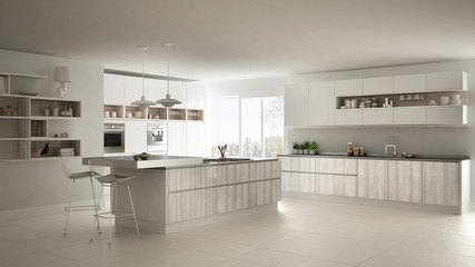 Modern white kitchen with wooden and white details, minimalistic interior design
