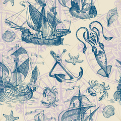 Old caravel, vintage sailboat, seashells, starfish, сrab, squid. Hand drawn sketch. Vector seamless pattern for boy. It can be used for textile, wrapping paper, menu design and invitations.