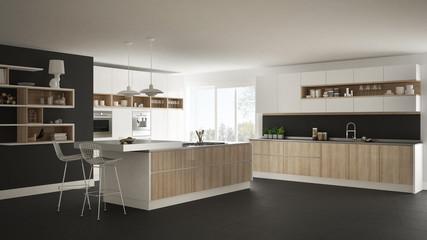 Modern white kitchen with wooden and white details, minimalistic interior design