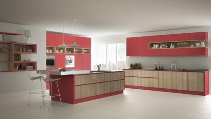 Modern white kitchen with wooden and red details, minimalistic interior design