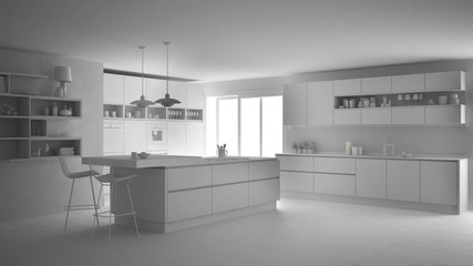 Total white modern scandinavian kitchen, minimalistic classic interior design