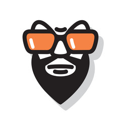 Man with a black beard and orange eyeglasses. Male character Isolated on white background. Vector graphic illustration.