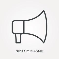 Line icon gramophone
