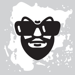 Portrait of a man with a black beard and big sunglasses. Male character Isolated on white background. Vector graphic illustration