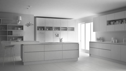 Total white modern scandinavian kitchen, minimalistic classic interior design