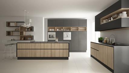 Modern white kitchen with wooden and gray details, minimalistic interior design