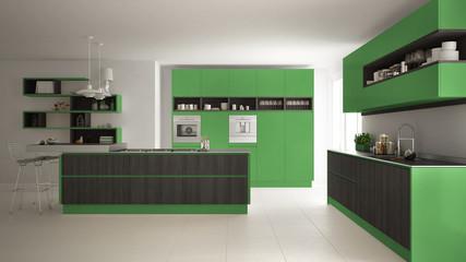Modern white kitchen with wooden and green details, minimalistic interior design