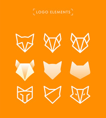 Vector abstract fox logo elements. Simple and clean style