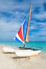 Wall Mural - Varadero beach in Cuba with a colorful catamaran sailboat