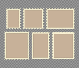 Blank Postage Stamps Frames Set isolated on transparent background. Vector illustration.