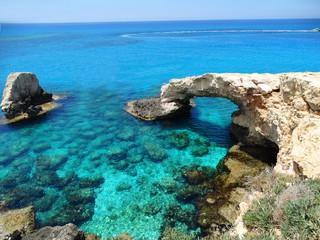 Wall Murals Cyprus rocky coast landscape mediterranean sea Cyprus island