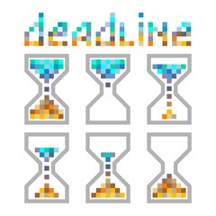 Hourglass time management business icons set, deadline, animated pixel style sandclock