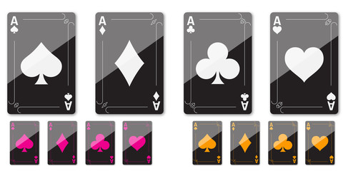 Set of four aces for playing poker and casino of different colors on a white background.