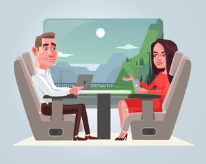 Happy smiling business man and woman characters talking in train. Travel concept. Vector flat cartoon illustration