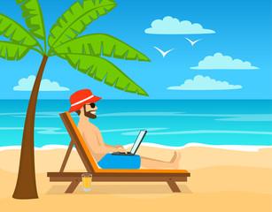 man working on laptop, pc on tropical island, beach.