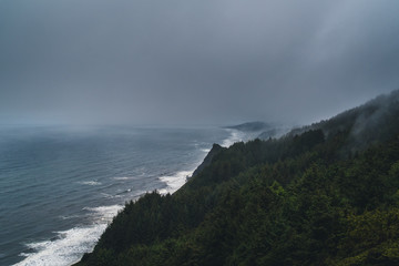 Wall Mural - Storms rolling over the Oregon coastline.